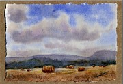 Prairie Sky Paintings - Golden Harvest by Mohamed Hirji