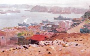 Oil Print Reproductions Mixed Media Prints - Golden Horn Bay Vladivostok Prints Print by Jake Hartz