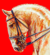 Unique Art Drawings Prints - Golden Horse In Red Print by Juan Jose Espinoza