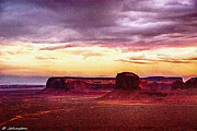 Painted Mixed Media - Golden Hour Five AM in Monument Valley by Bob Johnston