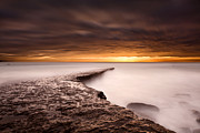 Sunset Seascape Framed Prints - Golden Framed Print by Jorge Maia