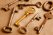 Gold Key Prints - Golden Key and Grunge Print by Colin and Linda McKie