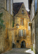 Gas Lamp Framed Prints - Golden Light in Sarlat Framed Print by Douglas J Fisher