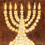 Menorah Paintings - Golden Light Menorah by Cheryl Hymes