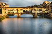 Arno River Prints - Golden Light on Ponte Vecchio Print by George Oze