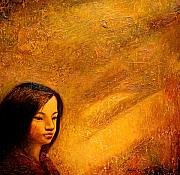 Portraits Mixed Media - Golden Light by Shijun Munns