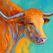 Texas Longhorn Posters - Golden Light Poster by Theresa Paden