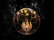 Golden Lotus In Deep Space Print by Peter R Nicholls