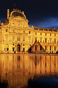 Glass Reflecting Metal Prints - Golden Louvre - Paris Metal Print by Brian Jannsen