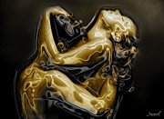 Intimacy Digital Art Posters - Golden love hug Poster by Samarel