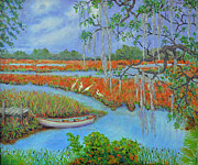 South Carolina Low Country Marsh Paintings - Golden Marsh 2 by Dwain Ray
