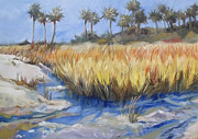 Marsh Scene Paintings - Golden Marsh Florida Marshland Grasses and Palms by Mary Hubley
