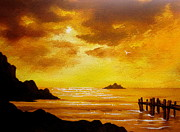 Serenity Landscapes Paintings - Golden   Moments  by Shasta Eone