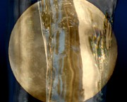 Abstract Pastel Metal Prints Prints - Golden Moon Print by France Laliberte
