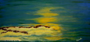 Watching Over Painting Posters - Golden Moonlit Sea Poster by Nancy Rucker