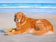 Dog Play Beach Paintings - Golden Murphy by Karen Zuk Rosenblatt