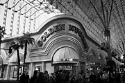 Freemont Street Experience Framed Prints - golden nugget casino hotel in freemont street Las Vegas Nevada USA Framed Print by Joe Fox