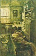 Impressionist Mixed Media - Golden Old Fashioned Kitchen by Kendall Kessler