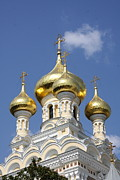Onion Domes Photos - Golden Onion Domes - Church Yalta by Christiane Schulze