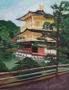 Bamboo House Painting Framed Prints - Golden Pavilion Framed Print by Michelle Erin Dominado