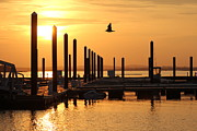 Nantasket Beach Prints - Golden Pier at Sunset Print by Patricia Abbate