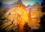 Kasha Katuwe Tent Rocks Prints - Golden Pinnacle Print by Janice Sakry