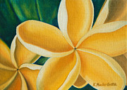 Interior Design Painting Posters - Golden Plumerias Poster by Kristine Mueller Griffith