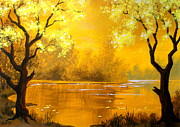 Silhouettes Painting Prints - Golden   Pond Print by Shasta Eone