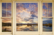 Golden Ponds Scenic Sunset Reflections 4 Yellow Window View Print by James Bo Insogna