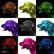 Retriever Digital Art - Golden Retriever - 4047 F - M - V1 by James Ahn