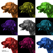 Retriever Digital Art - Golden Retriever - 4047 F - M - V2 by James Ahn