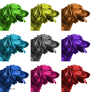 Retriever Digital Art - Golden Retriever - 4047 F - M - WB by James Ahn