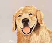 Breed Pastels Posters - Golden Retriever Poster by Anastasiya Malakhova