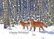 Christmas Dogs Prints - Golden Retriever Dogs Winter Wonderland  Print by Jennie Marie Schell