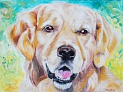Bullet Painting Framed Prints - Golden retriever Framed Print by PainterArtist FINs husband Maestro