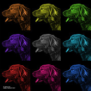 Retriever Digital Art - Golden Retriever Pop Art - 4047 F - M - BB by James Ahn