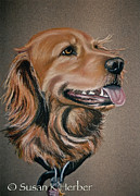 Retriever Pastels Posters - Golden Retriever Poster by Susan Herber