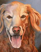 Pet Portraits Drawings Prints - Golden Retriever Till There Was You Print by Susan A Becker