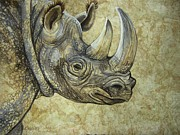 Amate Bark Paper Prints - Golden Rhino Print by Anne Shoemaker-Magdaleno