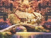 Stone Cottage Paintings - Golden Ripple by Mo T