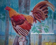 Gamefowl Paintings - Golden Rooster by Jonathan Reynera