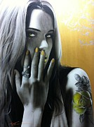 Tattoos Paintings - Golden Rose by Christian Chapman Art
