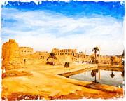 Historic Site Digital Art Framed Prints - Golden Ruins of Karnak Framed Print by Mark E Tisdale