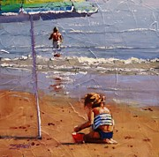 Summer Fun Painting Originals - Golden Sands by Laura Lee Zanghetti
