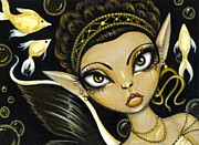 Miniature Paintings - Golden Sea Princess by Elaina  Wagner