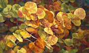 Warm Colors Painting Prints - Golden Seagrapes Print by Laurie Hein