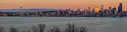 Citiscape Prints - Golden Seattle Sunset Print by Mike Reid