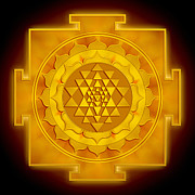 Help Digital Art Posters - Golden Sri Yantra Poster by Dirk Czarnota