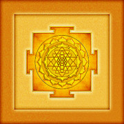 Yoga Images Prints - Golden Sri Yantra I I I Print by Dirk Czarnota