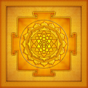 Yoga Images Prints - Golden Sri Yantra II Print by Dirk Czarnota